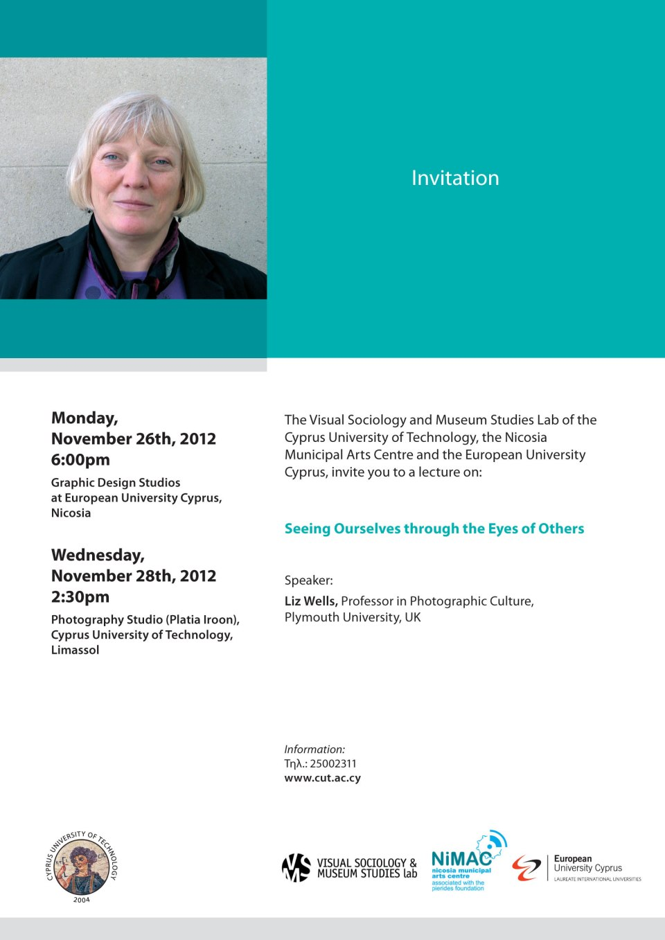 Lecture Invitation - Liz Wells - Nov. 28th 2012